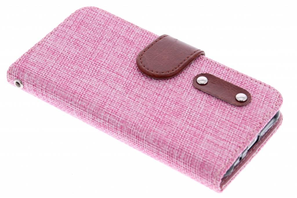 Roze linnen look TPU booktype hoes voor de Samsung Galaxy J1
