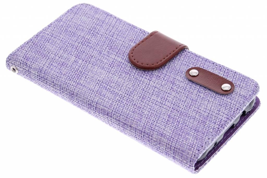 Paarse linnen look TPU booktype hoes voor de Samsung Galaxy J5