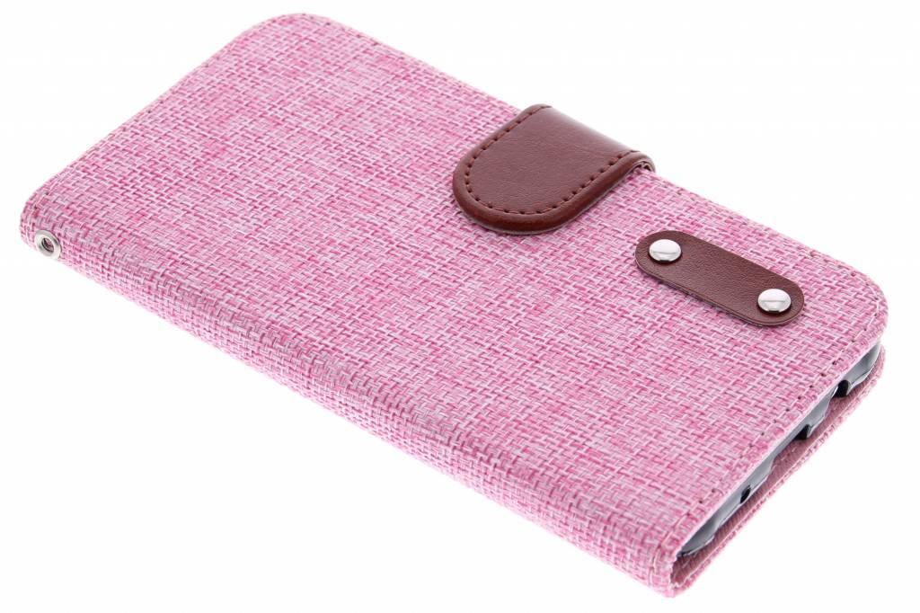 Roze linnen look TPU booktype hoes voor de Samsung Galaxy J5
