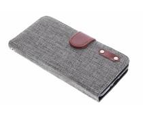 Grijs linnen look TPU booktype hoes Samsung Galaxy Note 4