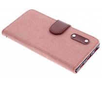 Roze linnen look TPU booktype hoes Huawei P8