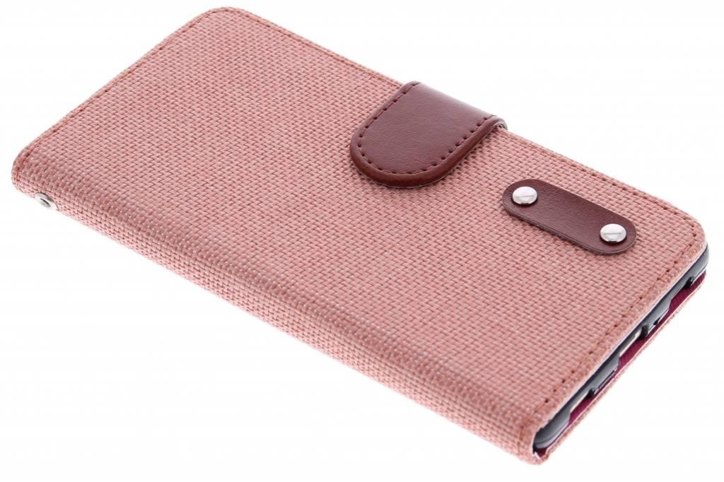 Zalmroze linnen look TPU booktype hoes voor de Huawei P8