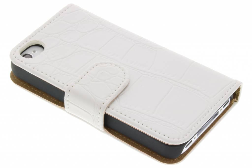 Wit krokodilskin booktype hoes voor Iphone 4/ 4s