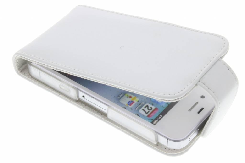Wit stijlvolle genuine leather flipcase voor iPhone 4 / 4s