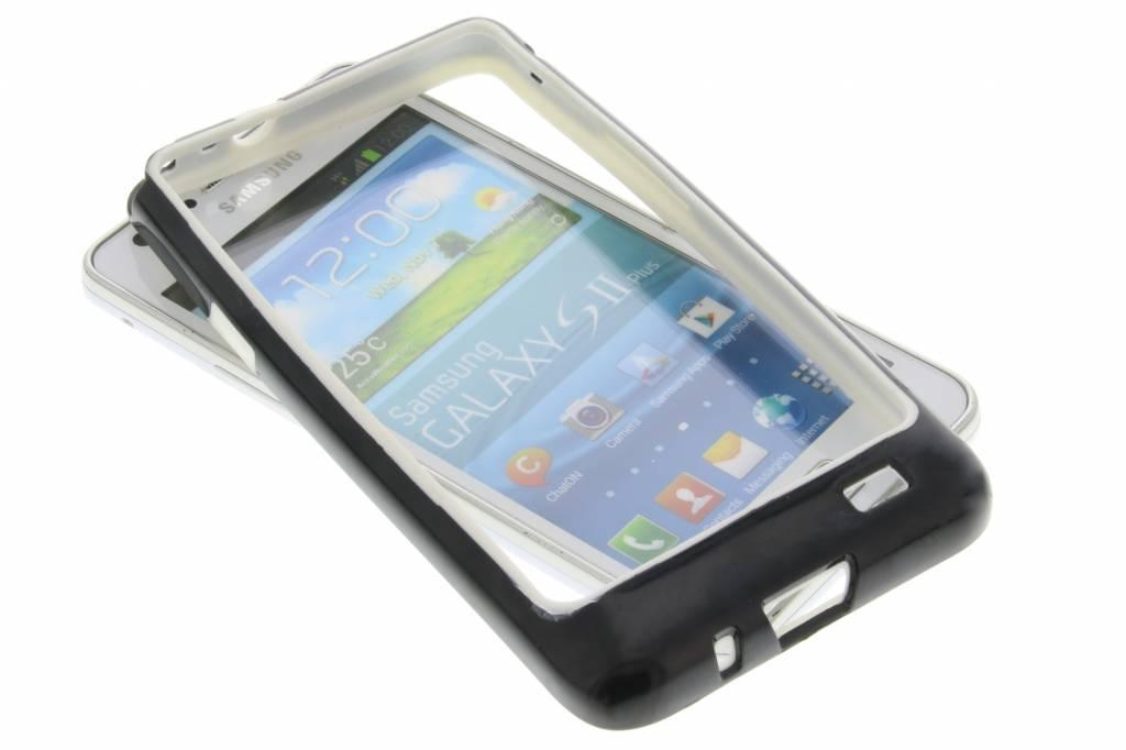 Zwart/wit stevige bumper voor Samsung Galaxy S2 (Plus)