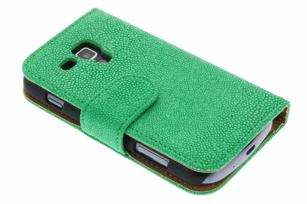 Groen glanzend ribbelige booktype hoes Samsung Galaxy S Duos / Trend (Plus)