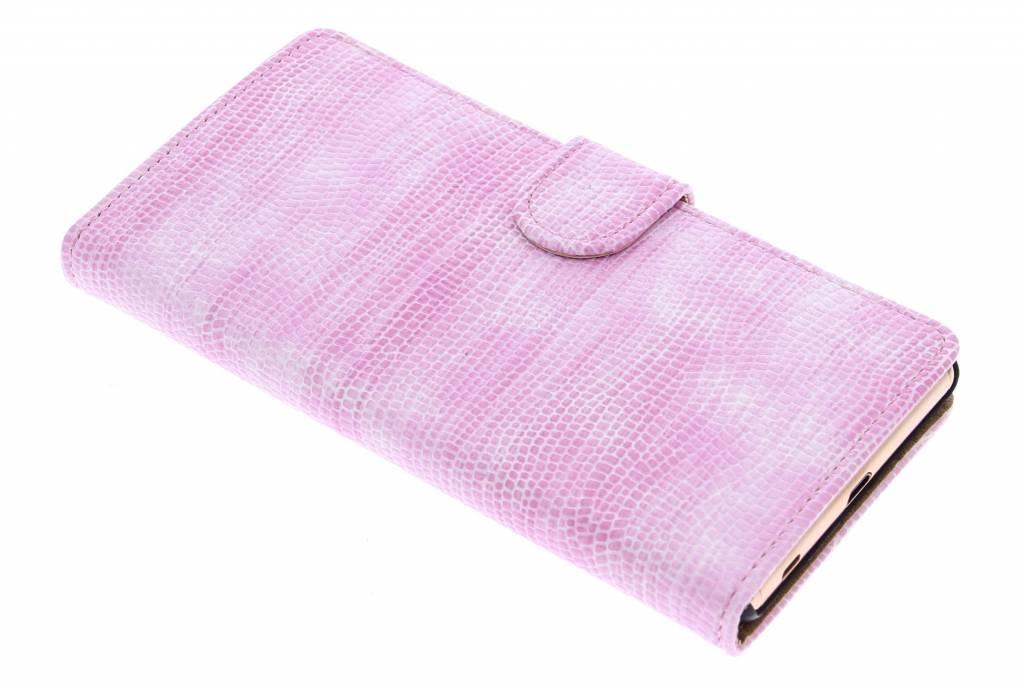 Roze hagedis design booktype hoes voor de Sony Xperia Z3 Plus