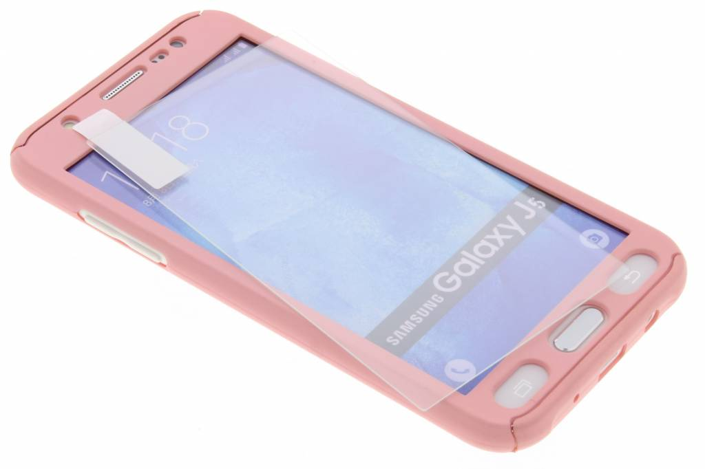 Roze 360° effen protect case voor de Samsung Galaxy J5