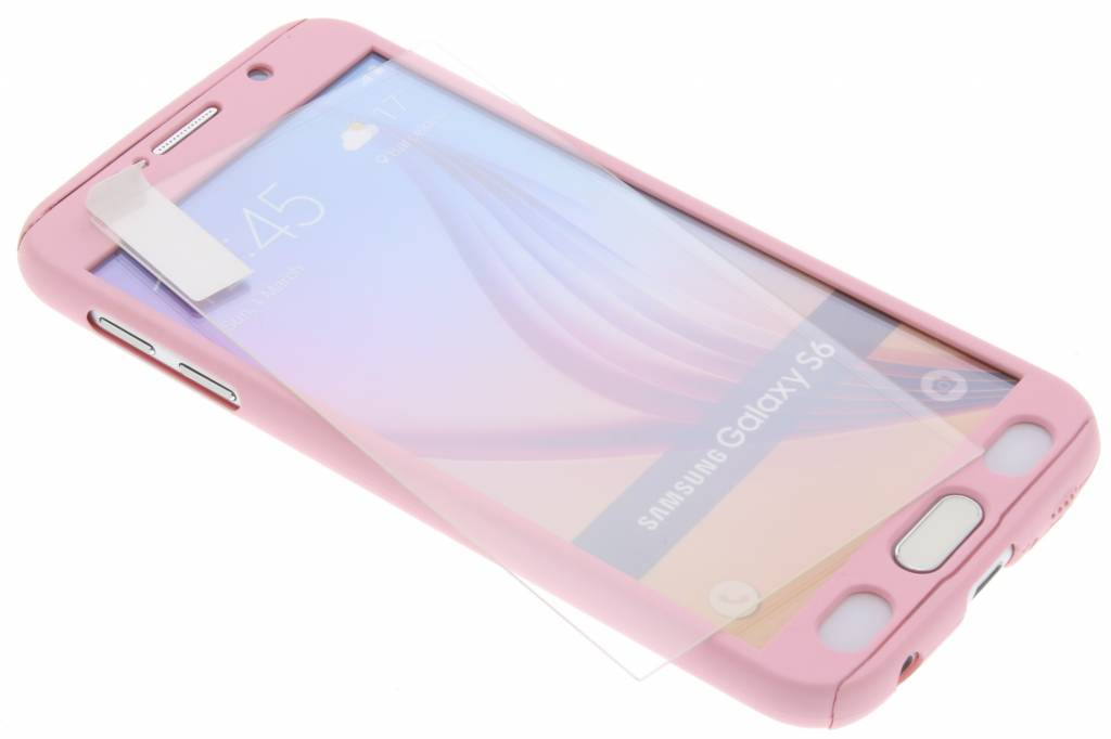 Roze 360° effen protect case voor de Samsung Galaxy S6