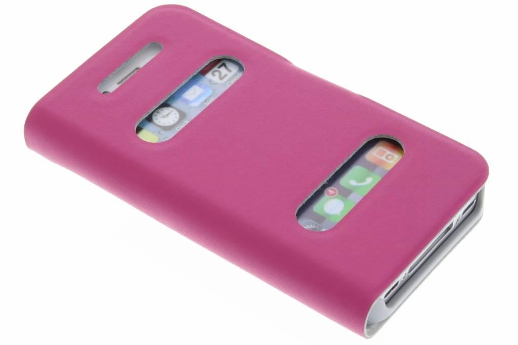Fuchsia luxe slim booktype hoes met venster voor de iPhone 4 / 4s