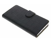 Zwart krokodil booktype hoes Huawei Shot X