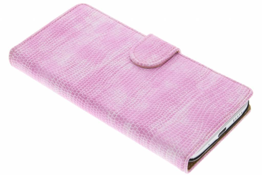 Roze hagedis design booktype hoes voor de HTC 10
