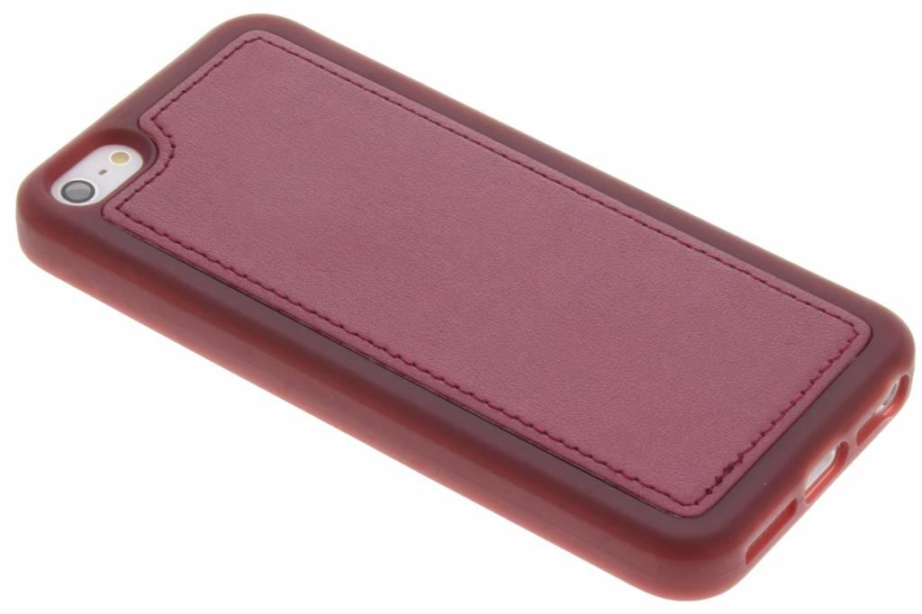 Rode metallic lederen TPU case voor de iPhone 5 / 5s / SE