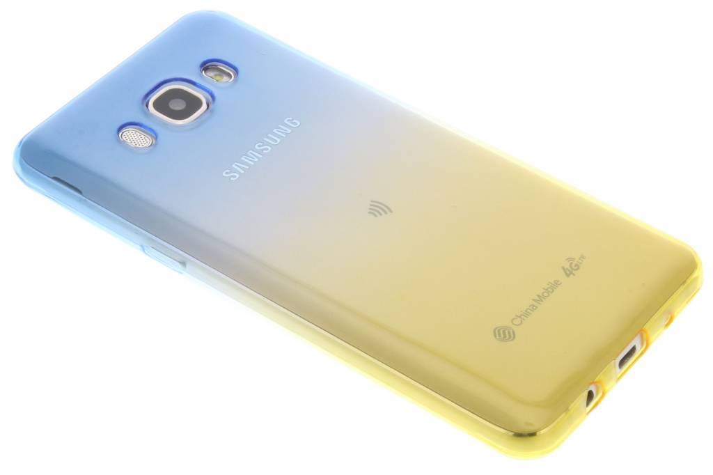 Blauw / Geel tweekleurig TPU siliconen hoesje voor de Samsung Galaxy J5 (2016)