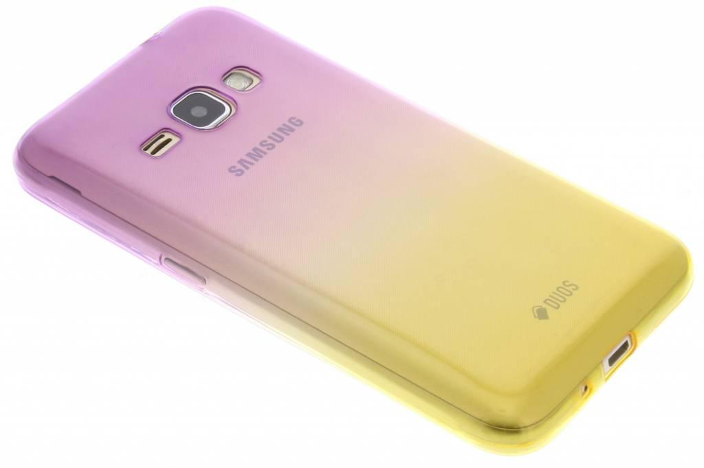 Paars / Geel tweekleurig TPU siliconen hoesje voor de Samsung Galaxy J1 (2016)