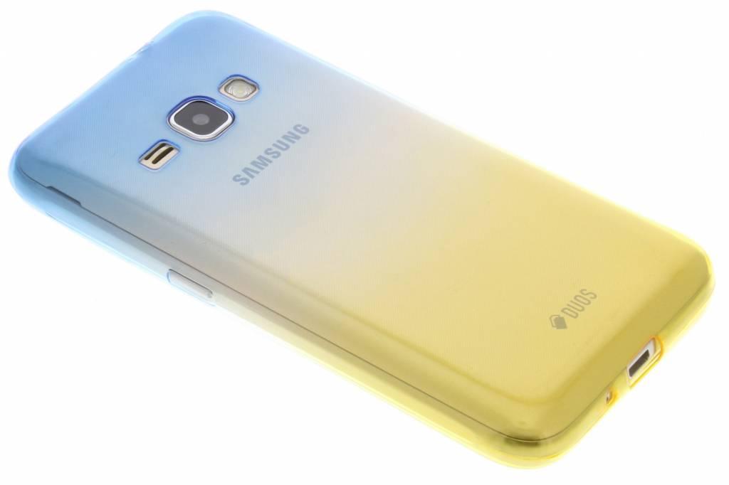 Blauw / Geel tweekleurig TPU siliconen hoesje voor de Samsung Galaxy J1 (2016)