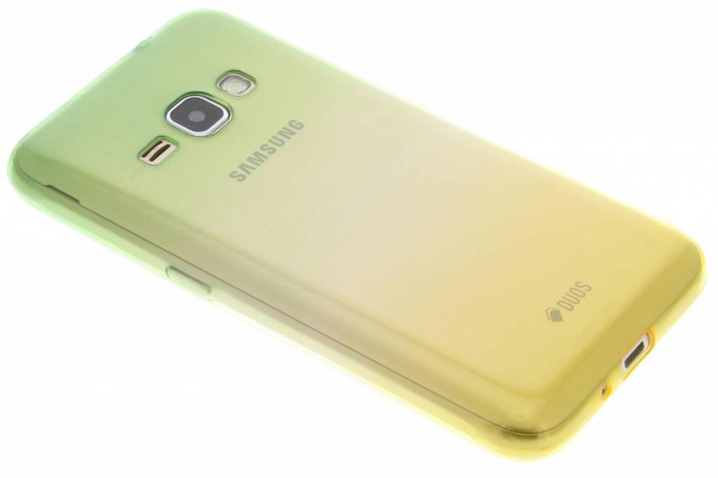 Groen / Geel tweekleurig TPU siliconen hoesje voor de Samsung Galaxy J1 (2016)