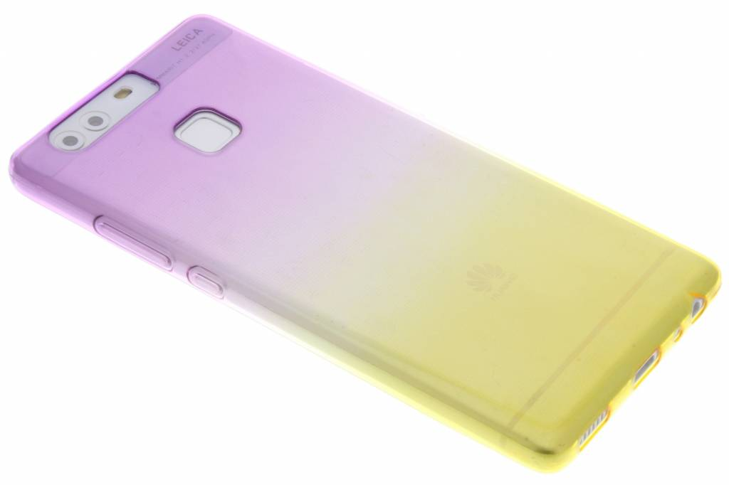 Paars/geel tweekleurig transparant TPU siliconen hoesje voor de Huawei P9