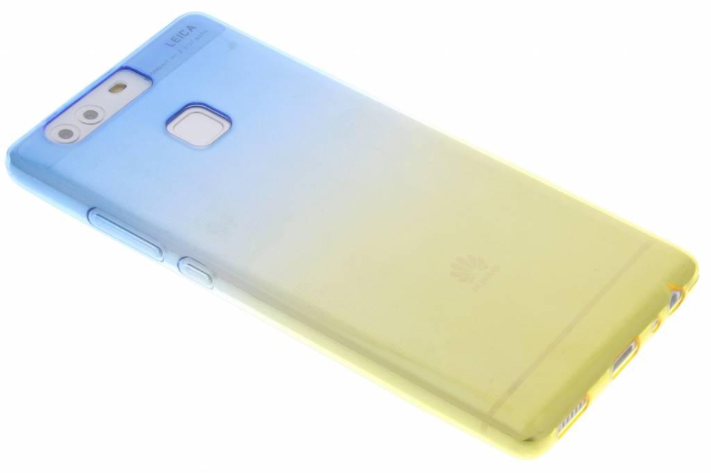 Blauw/geel tweekleurig transparant TPU siliconen hoesje voor de Huawei P9