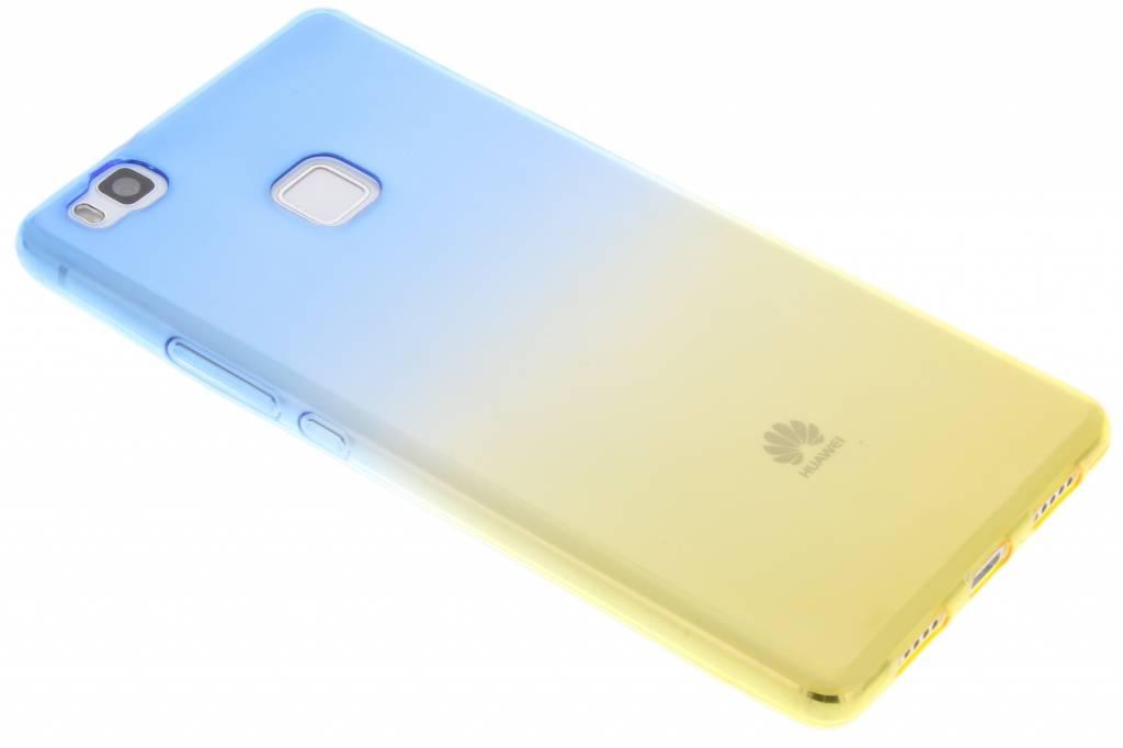 Blauw/geel tweekleurig TPU siliconen hoesje voor de Huawei P9 Lite