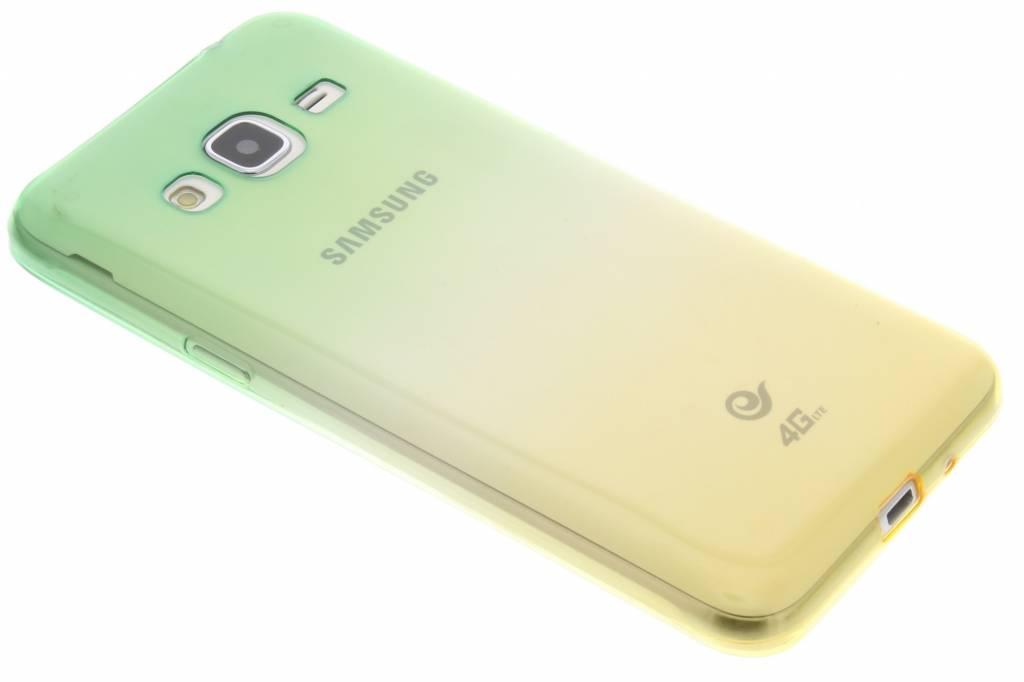 Groen/geel tweekleurig transparant TPU siliconen hoesje voor de Samsung Galaxy J3 / J3 (2016)