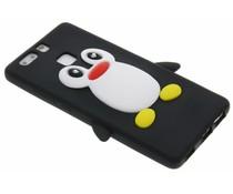 Zwart pinguin siliconen hoesje Huawei P9