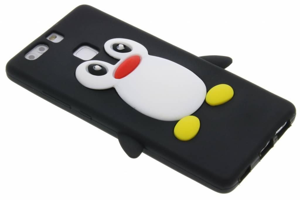 Zwart pinguin siliconen hoesje voor de Huawei P9