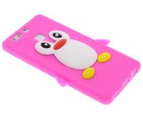Fuchsia pinguin siliconen hoesje Huawei P9