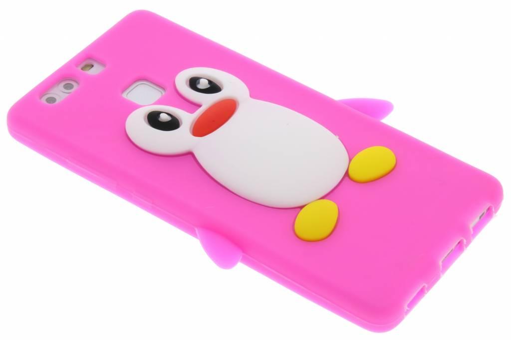 Fuchsia pinguin siliconen hoesje voor de Huawei P9