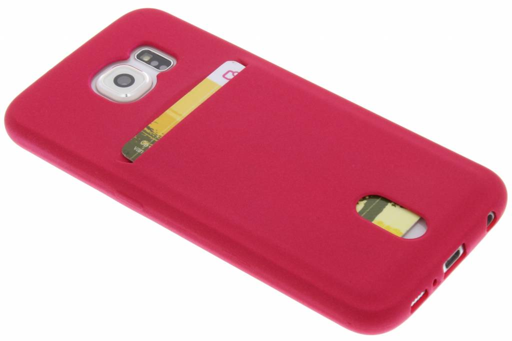 Fuchsia TPU siliconen card case voor de Samsung Galaxy S6
