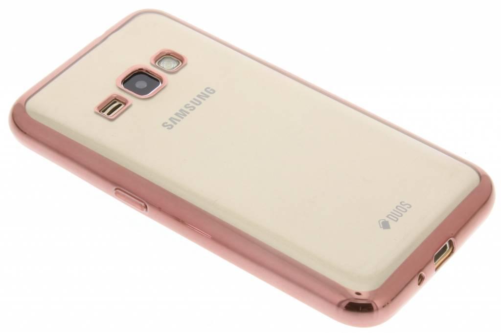 Rosé TPU hoesje met metallic rand voor de Samsung Galaxy J1 (2016)