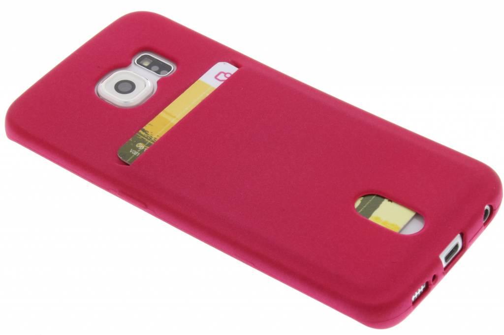 Fuchsia TPU siliconen card case voor de Samsung Galaxy S6 Edge