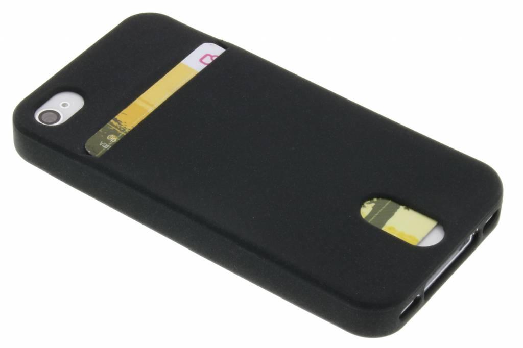 Zwarte TPU siliconen card case voor de iPhone 4 / 4s
