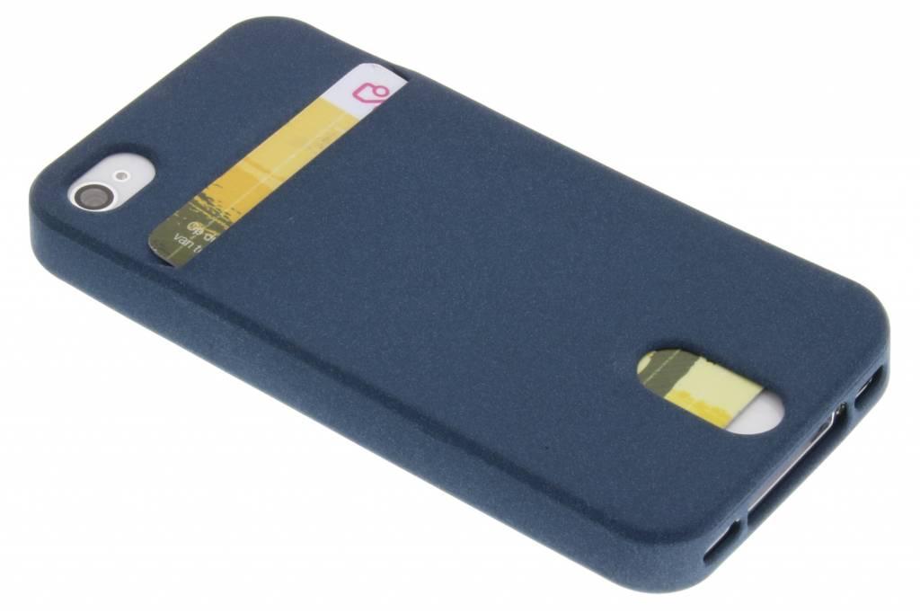 Donkerblauwe TPU siliconen card case voor de iPhone 4 / 4s