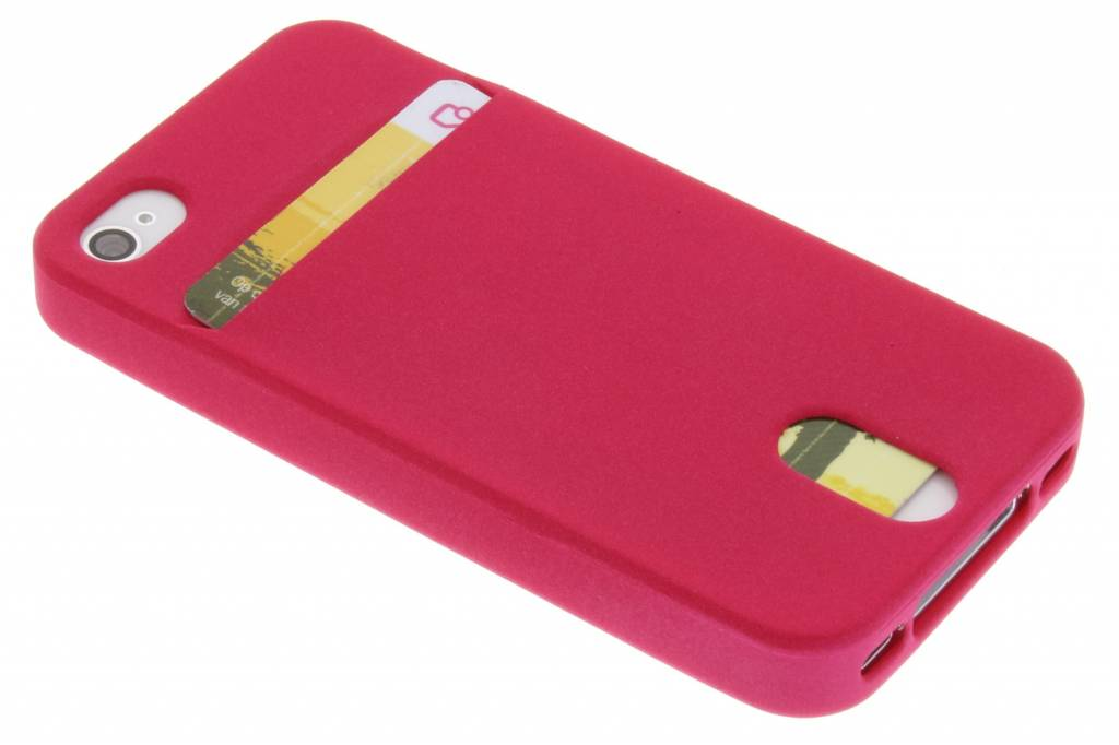 Fuchsia TPU siliconen card case voor de iPhone 4 / 4s