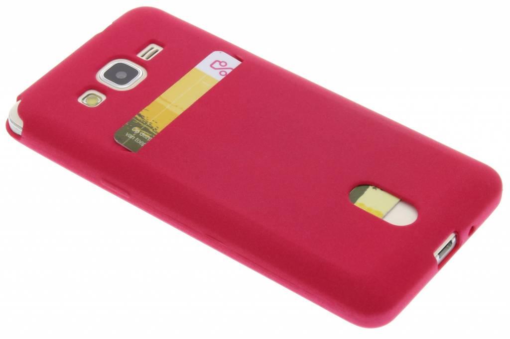 Fuchsia TPU siliconen card case voor de Samsung Galaxy Grand Prime