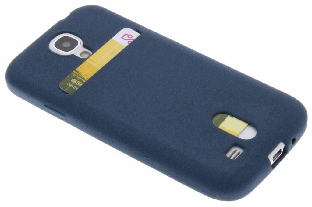 Donkerblauwe TPU siliconen card case voor de Samsung Galaxy S4