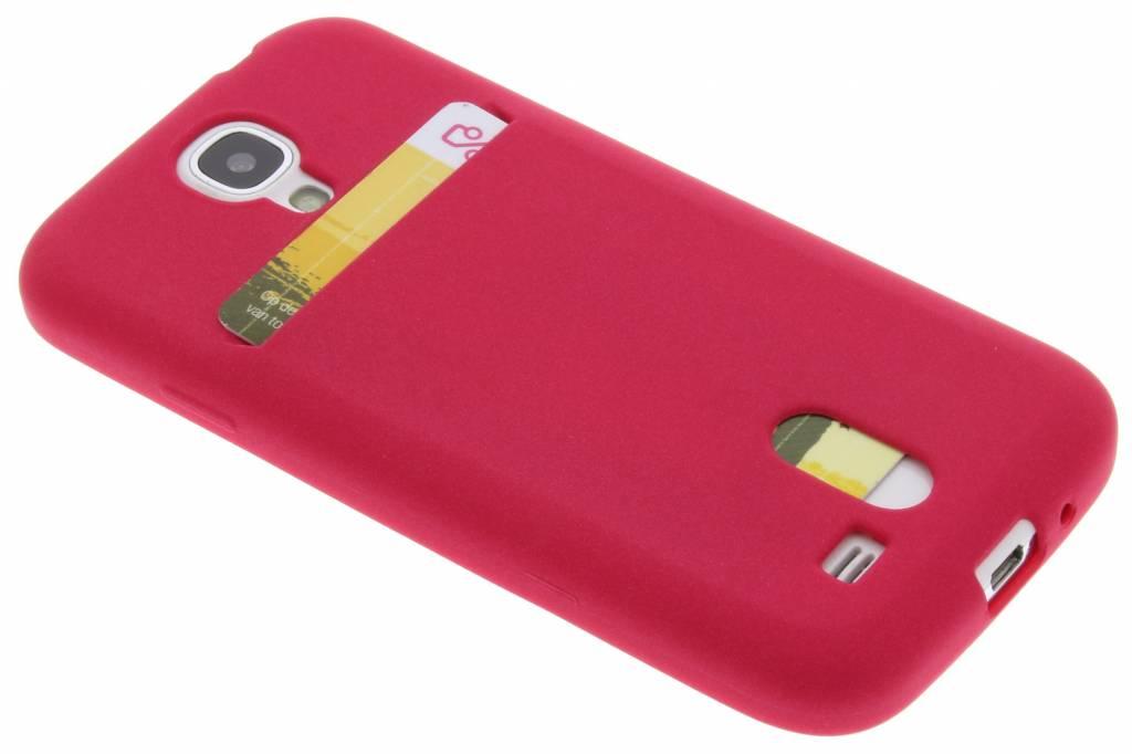 Fuchsia TPU siliconen card case voor de Samsung Galaxy S4