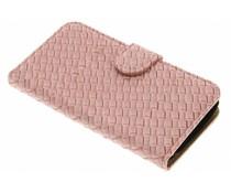 Roze geweven booktype hoes LG K4