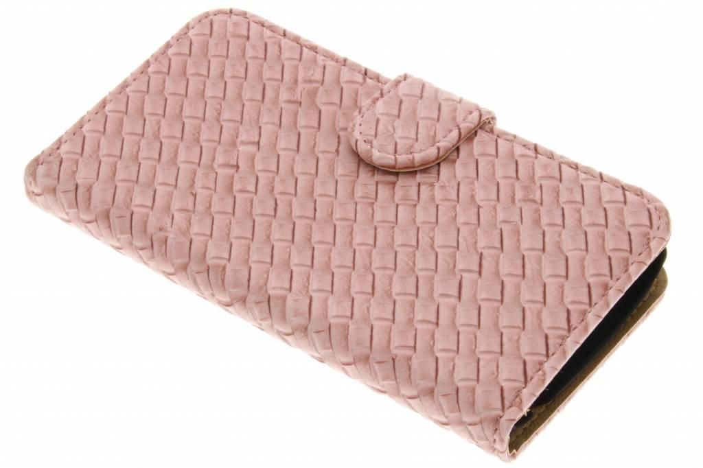 Roze geweven booktype hoes voor de LG K4