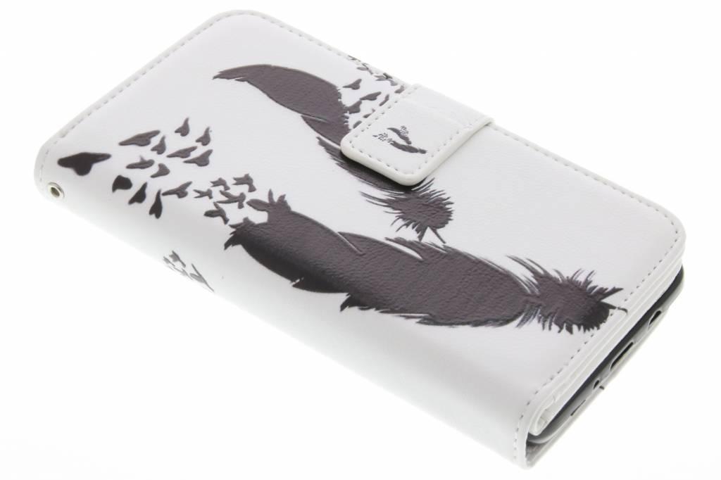 Zwarte veren en vogels design TPU portemonnee voor de iPhone 6(s) Plus