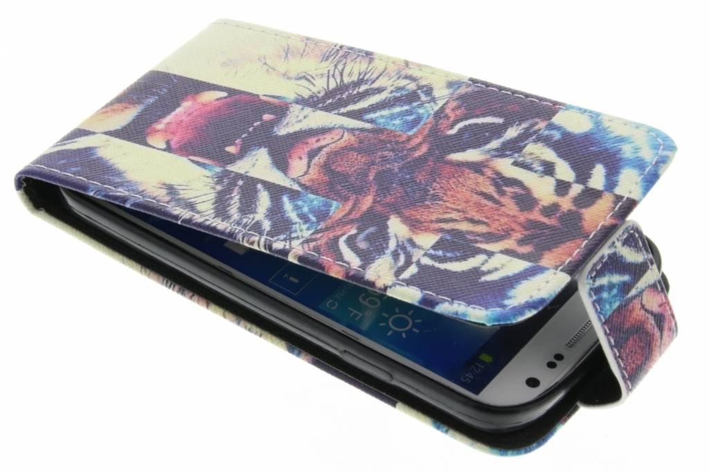 Tijger design TPU flipcase voor de Samsung Galaxy S4