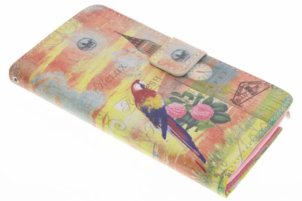 Big Ben papegaai design TPU booktype hoes voor de Samsung Galaxy Note 4