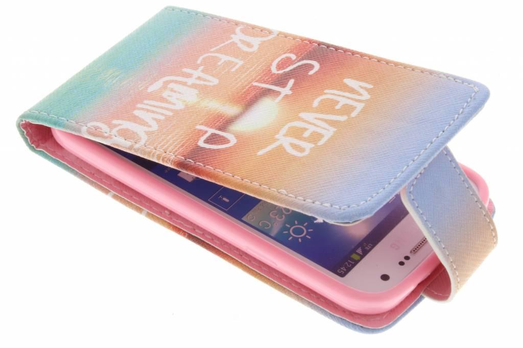 Never stop dreaming design TPU flipcase voor de Samsung Galaxy S4 Mini