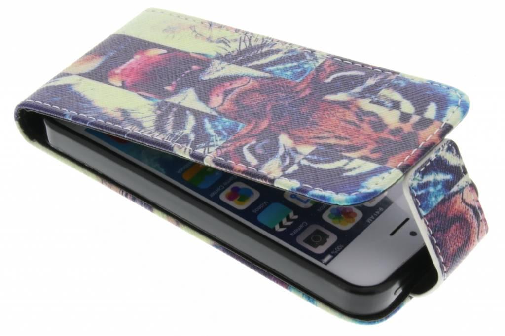 Tijger design TPU flipcase voor de iPhone 5 / 5s / SE