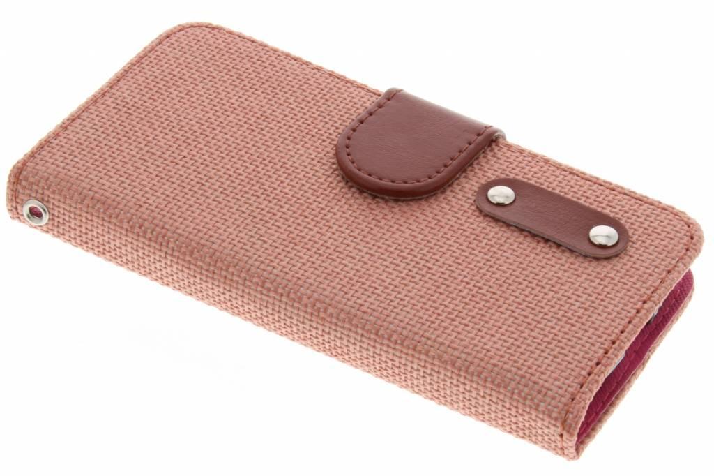 Zalmroze linnen look TPU booktype hoes voor de Samsung Galaxy S4 Mini