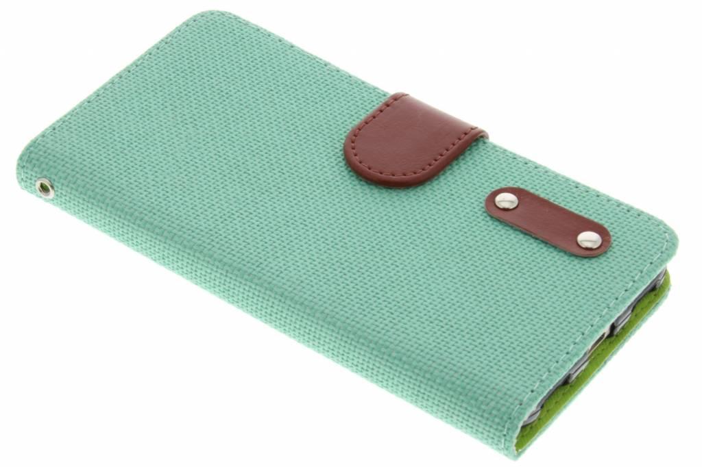 Groene linnen look TPU booktype hoes voor de Huawei Y6