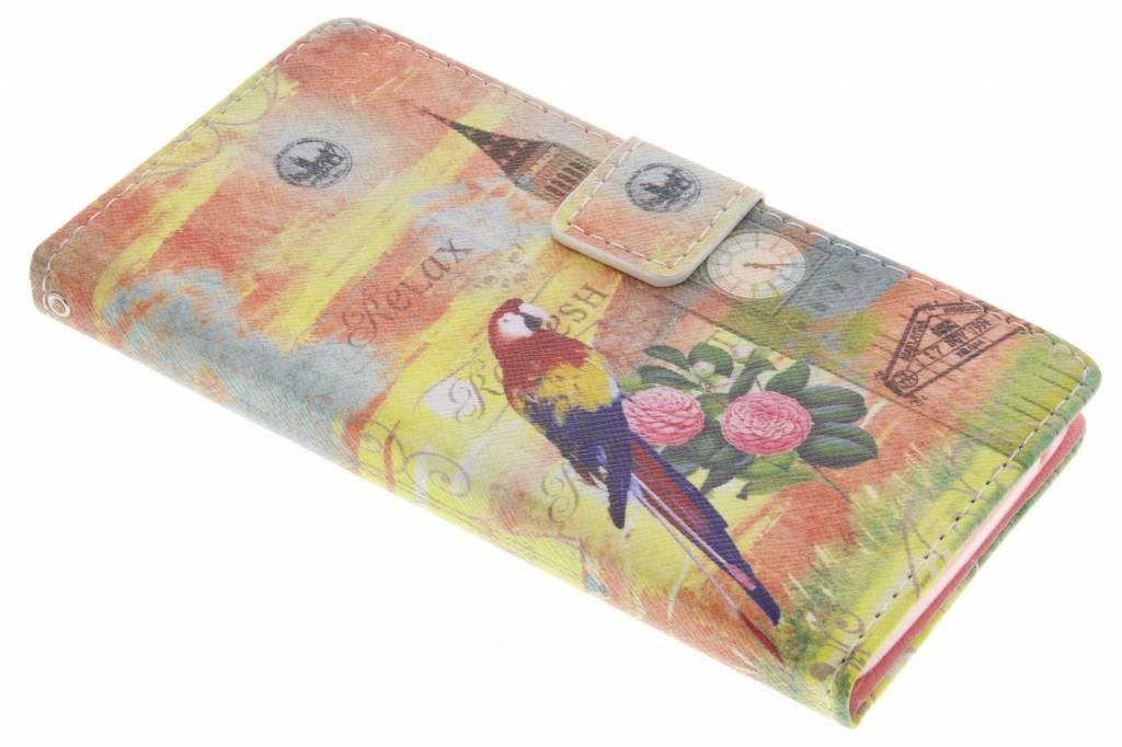 Big Ben papegaai design TPU booktype hoes voor de Wiko Rainbow
