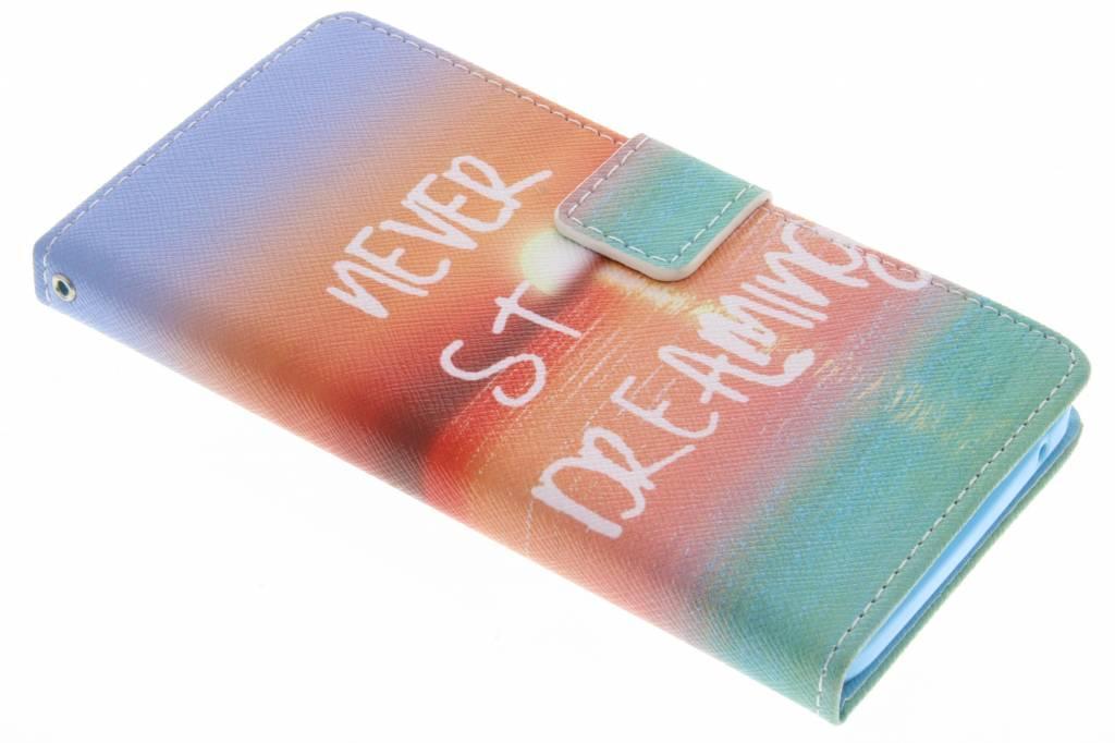 Never stop dreaming design TPU booktype hoes voor de Wiko Rainbow