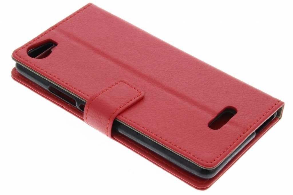 Rode stijlvolle leder booktype hoes voor de Wiko Fever 4G